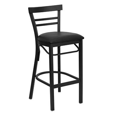 Hospitality Stool - Black Metal - Ladder Back - Black Vinyl Upholstered Seat - 16 Pack