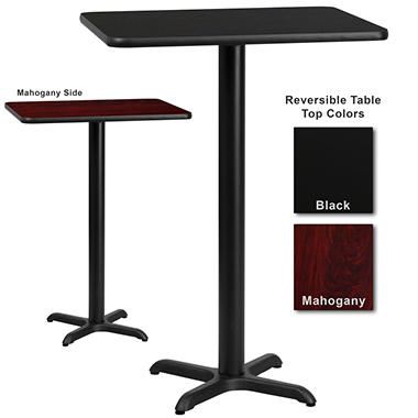 "Bar Height Hospitality Table - X-Base - Black/Mahogany - 24"" x 30"" - 1 Pack"