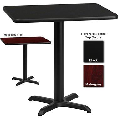 Hospitality Table - Rectangular - Black/Mahogany - 24
