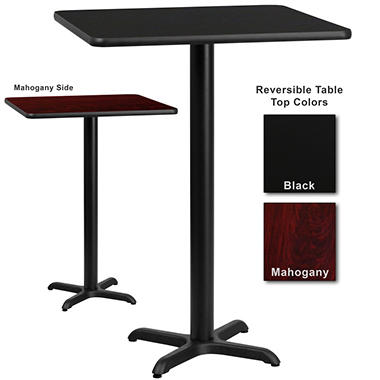 "Bar Height Hospitality Table - X-Base - Black/Mahogany - 30"" x 30"" - 1 Pack"