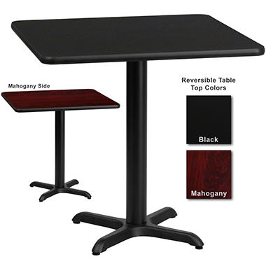 "Hospitality Table - Square - Black/Mahogany - 30"" x 30"" - 1 pk."