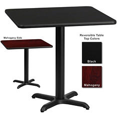 "Hospitality Table - Square - Black/Mahogany - 30"" x 30"" - 6 pk."