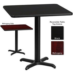 "Hospitality Table - Square - Black/Mahogany - 30"" x 30"" - 12 pk."
