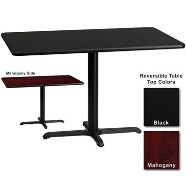 Hospitality Table  Rectangular - Black/Mahogany - 30