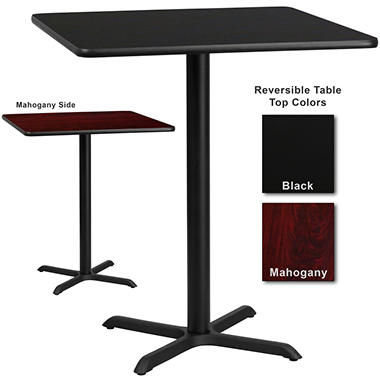 Bar Height Hospitality Table  X-Base - Black/Mahogany - 36