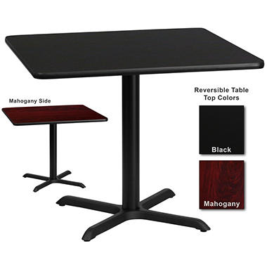 "Hospitality Table - Square - Black/Mahogany - 36"" x 36"" - 1 pk."