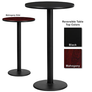 Bar Height Hospitality Table - Round Base - Black/Mahogany - 24