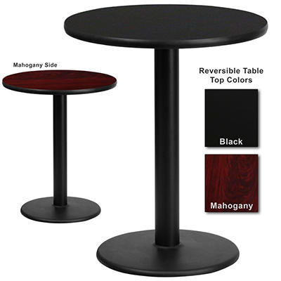 "Hospitality Table - Round - Black/Mahogany - 24"" x 24"" - 1 pk."