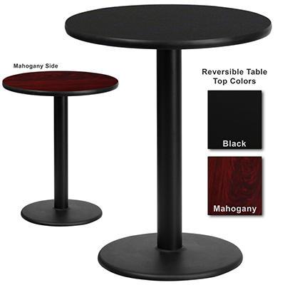 """Hospitality Table - Round - Black/Mahogany - 24"""" x 24"""" - 1 pk."""