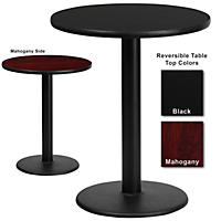 "Hospitality Table - Round - Black/Mahogany - 24"" x 24"" - 12 Pack"