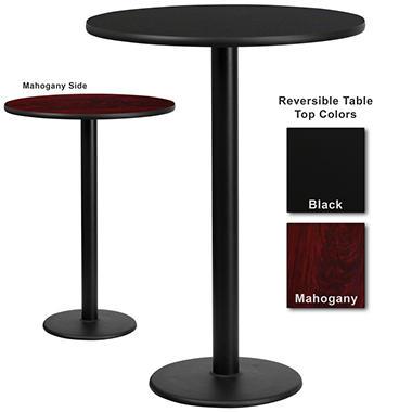 Bar Height Hospitality Table - Round Base - Black/Mahogany - 30