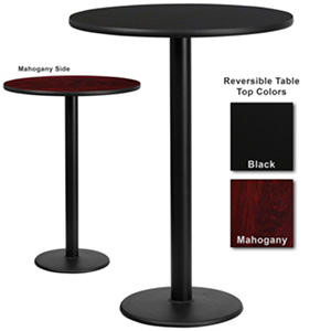 "Bar Height Hospitality Table - Round Base - Black/Mahogany - 30"" x 30"" - 6 Pack"