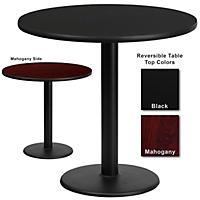 "Hospitality Table  Round - Black/Mahogany - 30"" x 30"" - 1 pk."