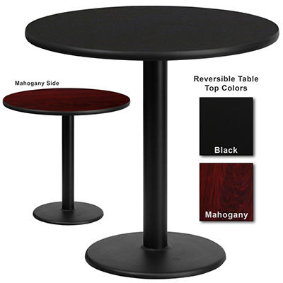 "Hospitality Table - Round - Black/Mahogany - 30"" x 30"" - 1 pk."