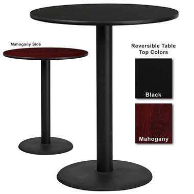 "Bar Height Hospitality Table - Round Base - Black/Mahogany - 36"" x 26"" - 6 Pack"