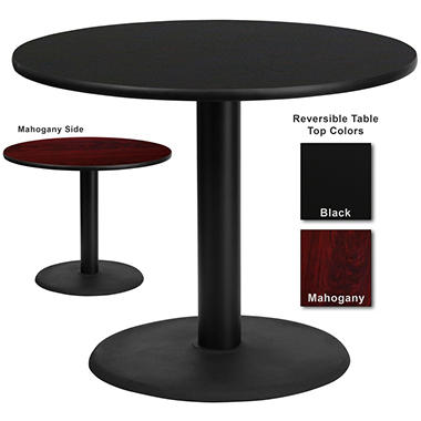 Hospitality Table  Round - Black/Mahogany - 36