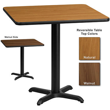 "Hospitality Table - Square - Natural/Walnut - 30"" x 30"" - 1 pk."