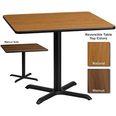 "Hospitality Table - Square - Natural/Walnut - 36"" x 36"" - 1 pk."