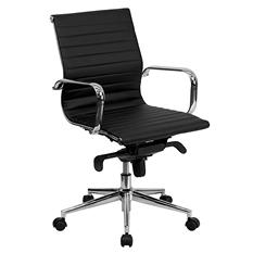Flash Furniture Mid-Back Ribbed Upholstered Leather Conference Chair Black