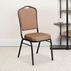 Flash Furniture Hercules Series Crown Back Fabric Banquet Stack Chair Gold