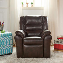 Mason Collection Kids' Leather Recliner - Brown