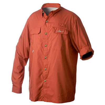 Habit Vented River Long-Sleeved Shirt, Orange - Choose Your Size