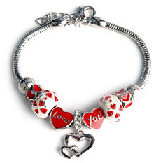 Heart and Love Charm Bracelet in Sterling Silver