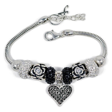 Black/White Swarovski Elements Heart Dangle Bracelet