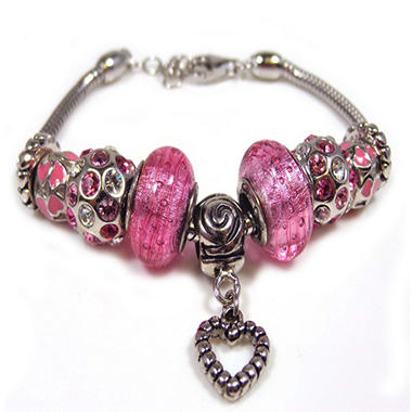 Pink Floral With Heart Bracelet