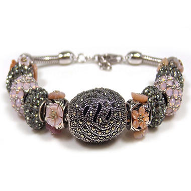 Marcasite Opal and Coral Bracelet