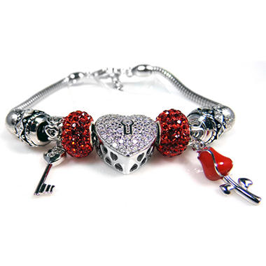 Heart, Key & Rose Bracelet