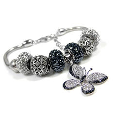 Fiora Black and White Butterfly Bracelet