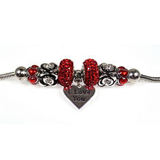 "Sterling Silver ""I Love You"" Heart Bead Bracelet"