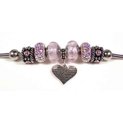 Love Heart Dangle Bracelet with Murano Glass Beads in Sterling Silver (IGI Appraisal Value: $185)