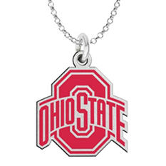 Fiora Ohio State Sterling Silver Logo Necklace