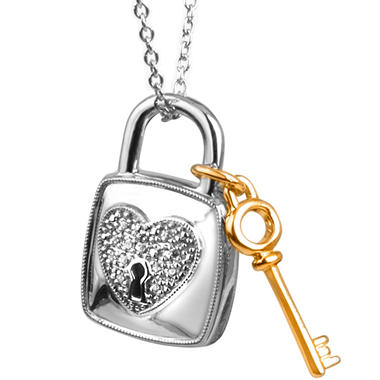 0.05 ct. t.w. Lock 'n' Key Diamond Accent Pendant in Sterling Silver and 14k Yellow Gold (I, I1)