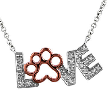 0.08 ct. t w. ASPCA Paw Love Round Diamond Pendant in Sterling Silver and 14k Pink Gold (I, I1)