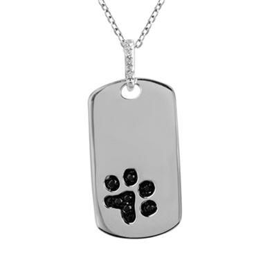 0.10 ct. t.w. ASPCA Dog Tag Round Diamond Pendant in Sterling Silver (I and Black, I1)