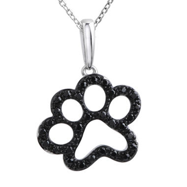 0.33 ct. t.w. ASPCA Paw Dog Round Diamond Pendant in Sterling Silver (Black)