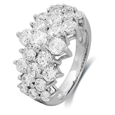 3.00CT. T.W. Round-Cut Diamond Pyramid Fashion Ring in 14K White Gold (I-I1)