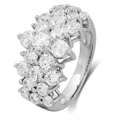 3.00 CT. T.W. Round-Cut Diamond Pyramid Fashion Ring in 14K White Gold (IGI Appraisal Value: $3,355)