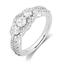1.00 CT. T.W. Round Diamond 3-Stone Plus Ring in 14K White Gold (I,I1)