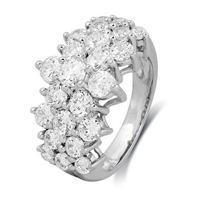 2.00 CT. T.W. Round-Cut Diamond Pyramid Fashion Ring in 14K  White Gold (I, I1)