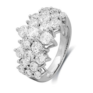 2.00 CT. T.W. Round-Cut Diamond Pyramid Fashion Ring in 14K White Gold (I, I1)