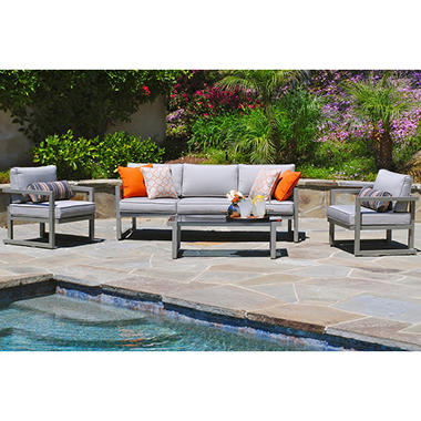 kelowna aluminum 4 piece patio seating set with premium