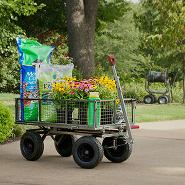 Rankam Garden Utility and Dumping Cart with 6.25 Cubic Feet Capacity
