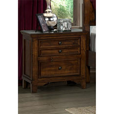 Warren Rustic Oak Nightstand with Power