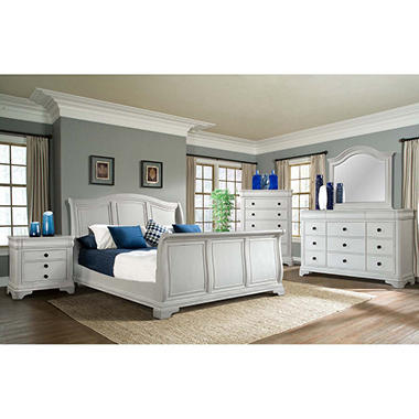 Conley Sleigh Bed Bedroom Set, White (Assorted Sizes)