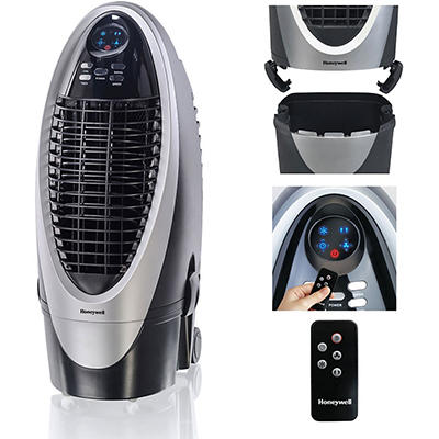 Honeywell 21 Pt. Indoor Portable Evaporative Air Cooler with Remote Control (Black/Silver/Grey)