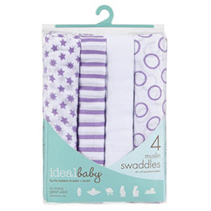 Ideal Baby Muslin Swaddles, Various Colors (4 pk.)